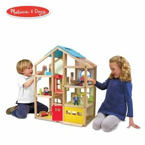 Melissa-amp-Doug-2462-Hi-Rise-Wooden-Dollhouse-and-Furniture-Set