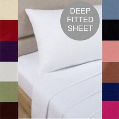 """Luxury Hotel Quality Easy Care PolyCotton 16/"""" Inch Extra Deep Fitted Sheets"""