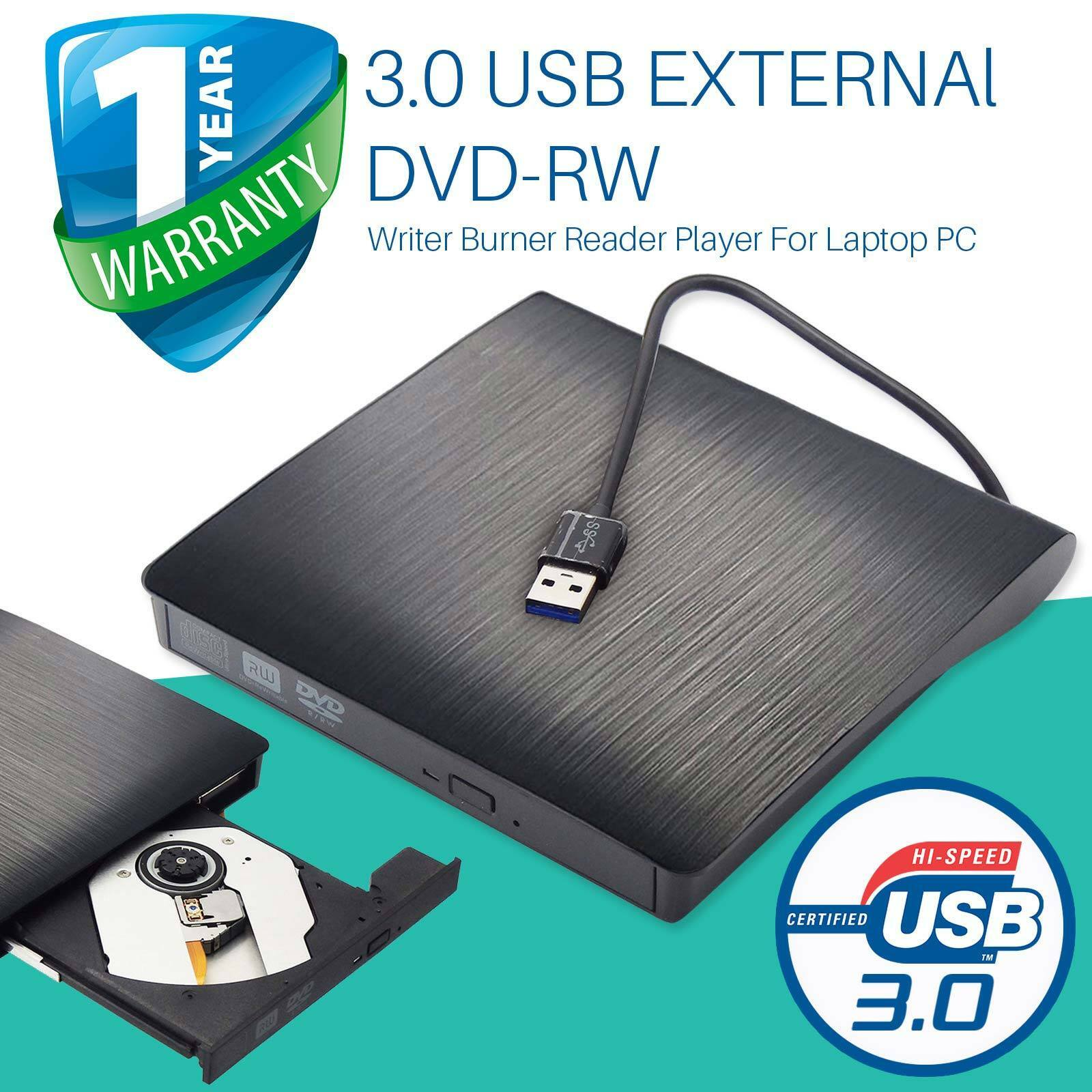 Extern USB 3.0 CD RW DVD Brenner Laufwerk Writer CD/DVD-ROM/DVD±RW Fr Laptop MAC