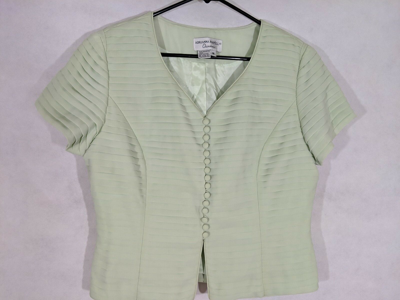 Blouse Adrianna Papell Special Occasions Green Formal Fancy Pleated Woman's 16