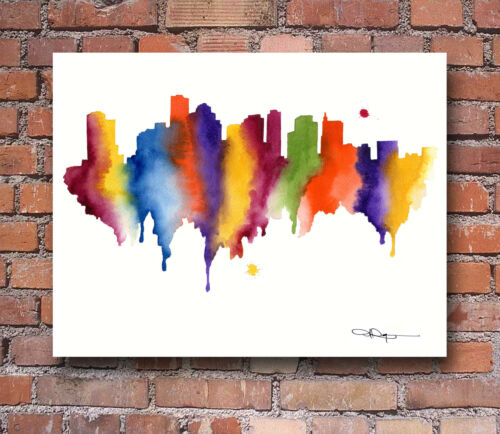 "Boston Skyline Watercolor Painting 11/"" x 14/"" Art Print by Artist DJ Rogers"