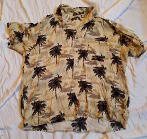 Munsingwear-Hawaiian-Shirt-Island-Palm-Trees-Sailboat-Mens-XL-Rayon-Tan-Brown