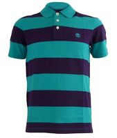 NEW TIMBERLAND MEN'S LAKE BLUE/ BLACKBERRY RUGBY STRIPED POLO SHIRT SIZE L