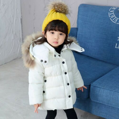 Kids Boys Girls Winter Coat Fur Hooded Hood Down Jacket Coat Parka Baby Outwear