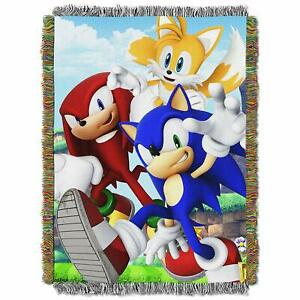 Sonic The Hedgehog Tails Knuckles Sega Game Woven Tapestry Throw