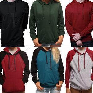 Sweatshirt-Pullover-Hoodie-Men-Women-Plain-Jumper-Raglan-Shirt-LightWeight-Thin