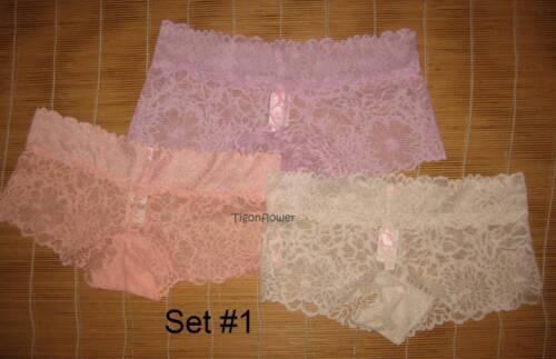 3 Victoria/'s Secret Pink Panties FLORAL LACE BoyShort Medium You choose set
