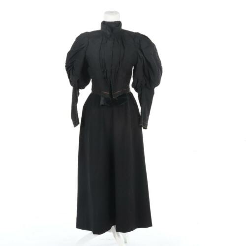 Authentic Victorian Beaded Mourning Dress with Leg