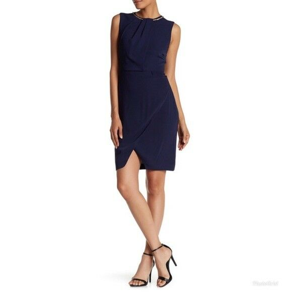 Ellen Tracy damen Blau Sheath Dress Sleeveless Embellished Größe 8 NWT