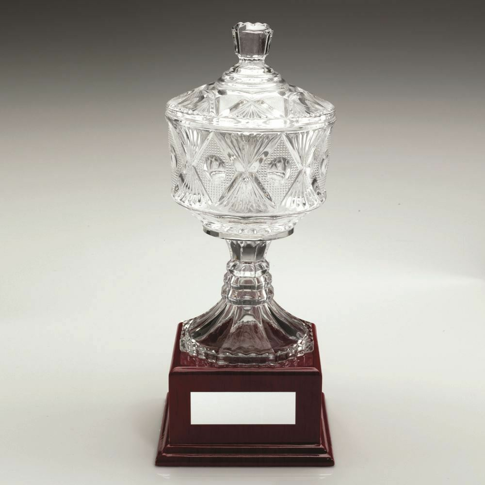 CLEAR GLASS CUP ON WOOD BASE TROPHY - 11.25in