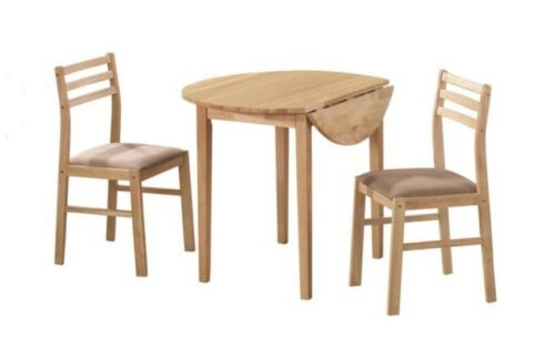 Casual 3 Piece Natural Wood Finish Dining Table and Chair Set by Coaster 130006