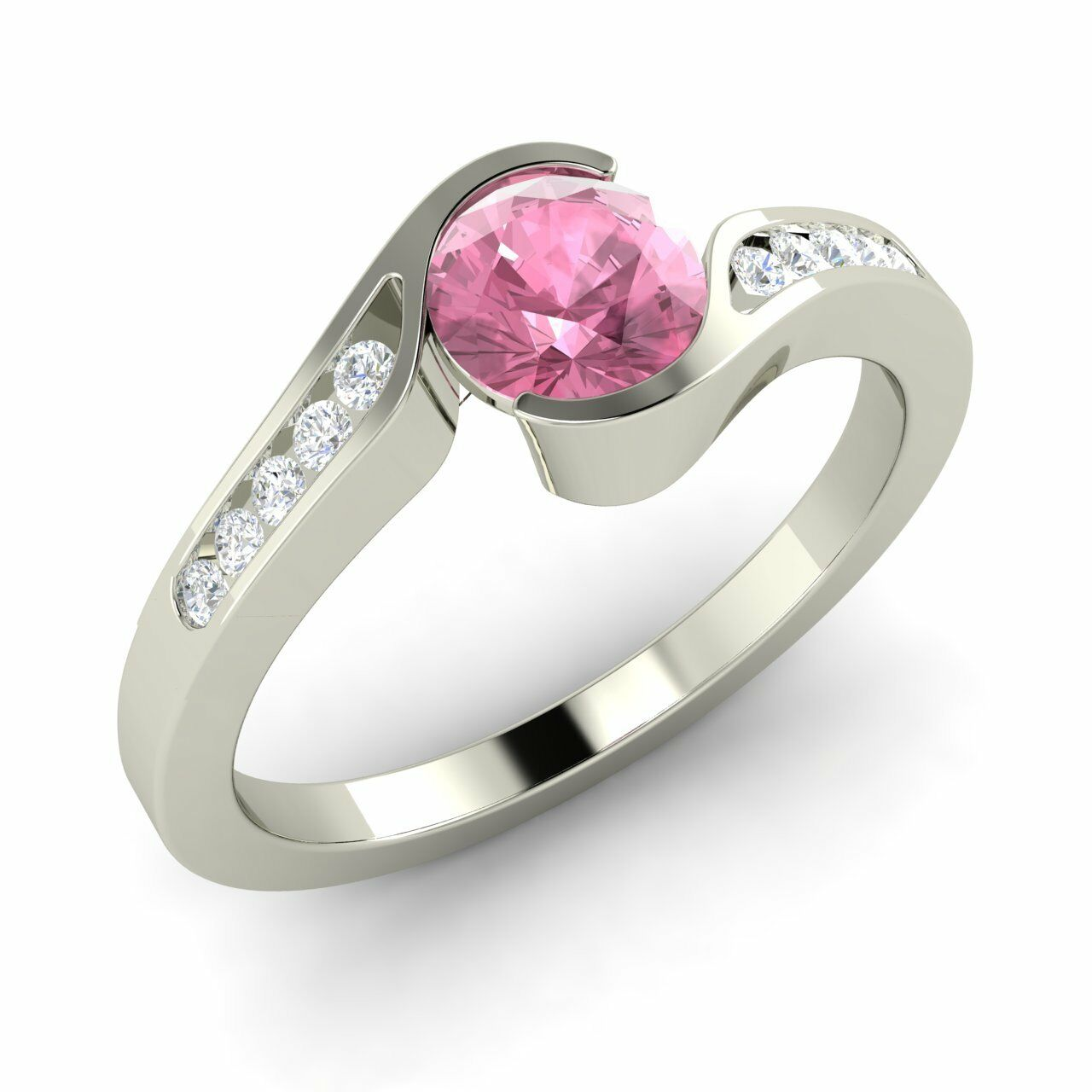 Natural Diamond Round Pink Tourmaline Engagement Ring 14K White gold, Certified