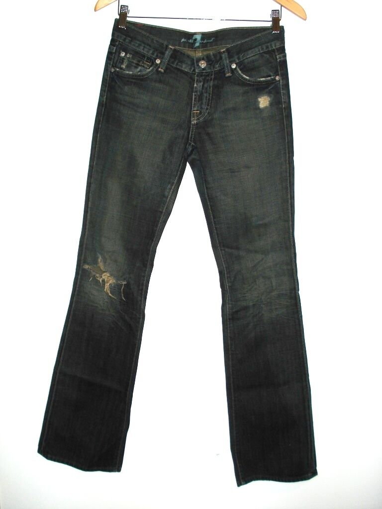 7 FOR ALL MANKIND DENIM BOOT CUT JEANS DISTRESS TORN WASHED blueE 26