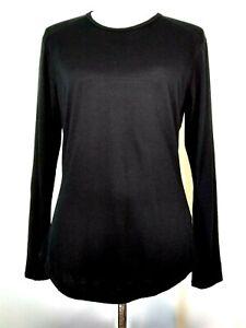Segments-Womens-Black-100-Merino-Wool-Long-Sleeve-Base-Layer-Top-Size-Medium