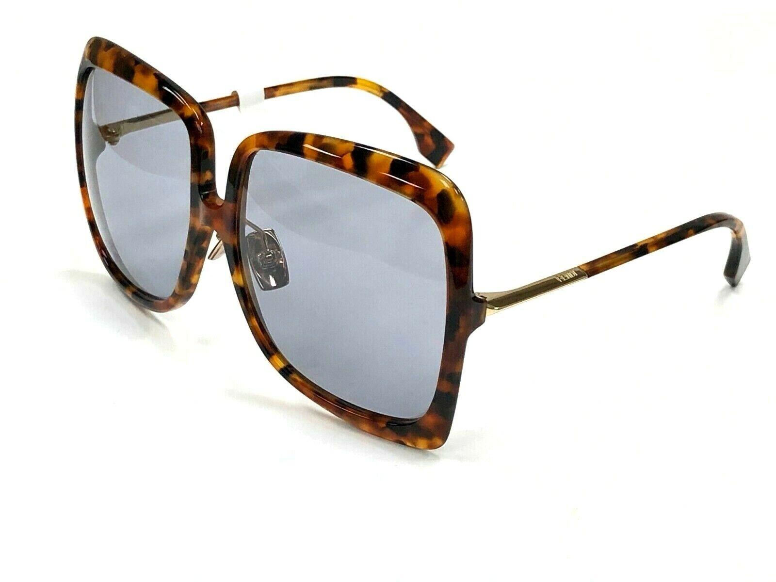 Authentic FENDI FF0429/S 9N4/IR Havana Gold/Light Gray Lens 62mm Sunglasses