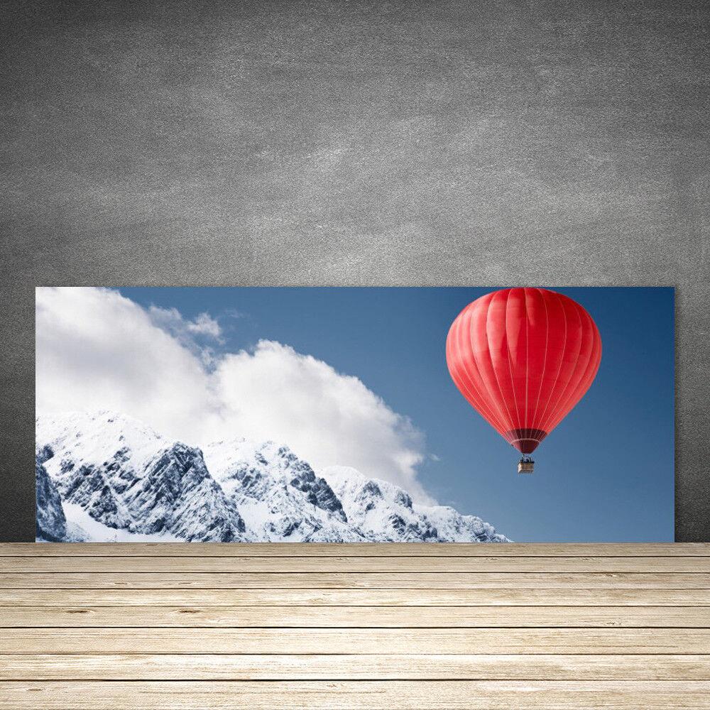 Crédence de cuisine en verre Panneau 125x50 Neige Montagne Ballon à Air Chaud