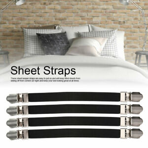 4Pcs Elastic Bed Sheet Clips Holders Straps Suspenders ...