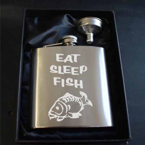 ENGRAVED EAT SLEEP FISH CARP 6OZ STAINLESS STEEL HIP FLASK GIFT BOX /& FUNNEL