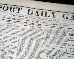 Rare-DAVENPORT-Iowa-Civil-War-Battle-of-Dug-Springs-Missouri-1861-Old-Newspaper