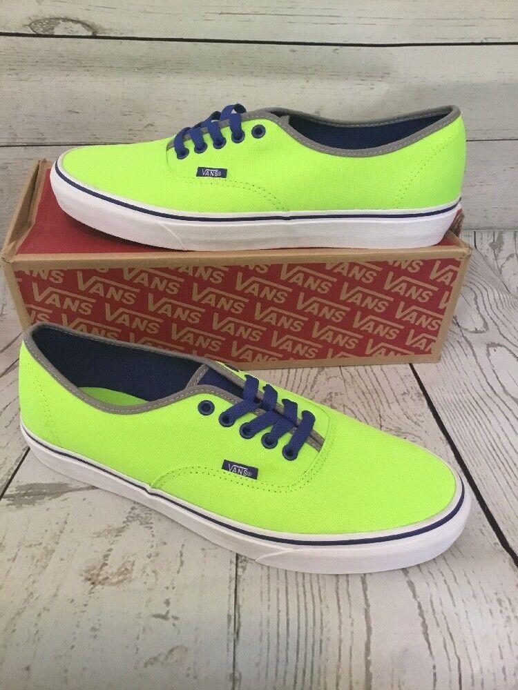 Vans Authentic (Brite) Neon Green bluee Mens 4.5 Womens 6