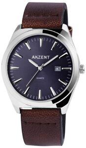 Akzent-Herrenuhr-Blau-Braun-Analog-Datum-Metall-Kunst-Leder-Quarz-XSS7223000058
