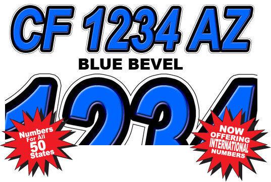 Blue Custom Boat Registration Number Decals Vinyl Lettering  (2 Sets) USCG