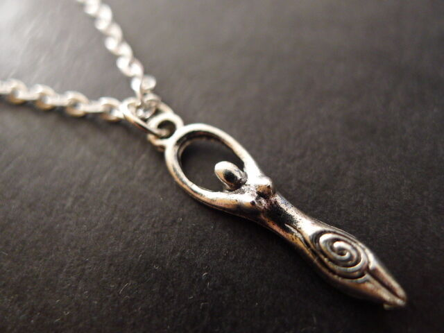 "Goddess Necklace 18"" silver plated chain pendant wicca pagan jewellery triple"