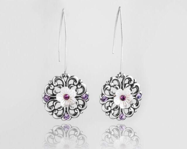Mother's Gift Amethyst Chandelier Crystal Pearl Silver Earrings Women Jewelry