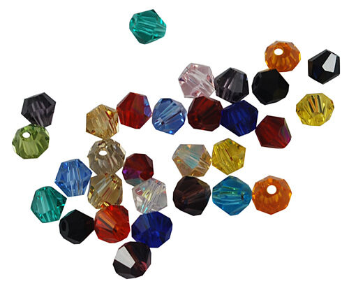 100 Bulk Beads Faceted Bicone Assorted Colors Wholesale Beads BULK 4mm