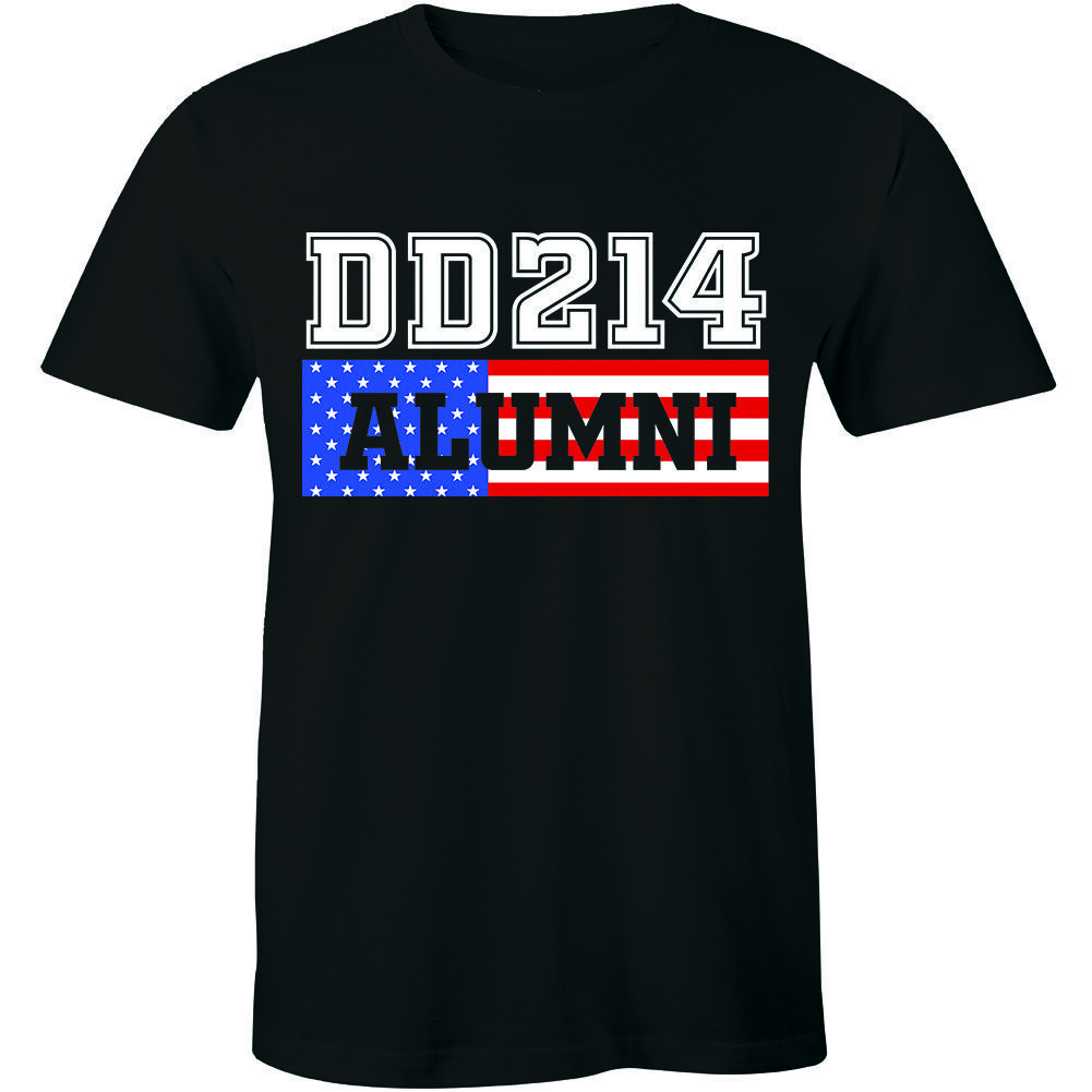 Dd214 Alumni Distressed American Flag T-Shirt Military Veteran Tee Shirt Masswerks Store