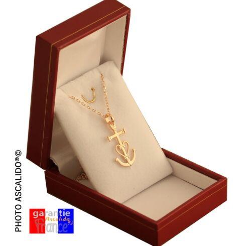 Coffret collier petite croix de provence Camargaise chaine en plaqué Or  neuf