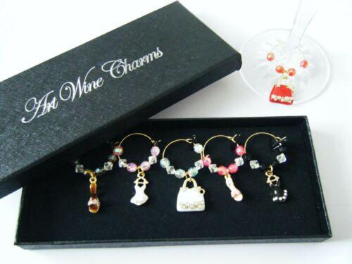 Boxed set of 6 gold plated wine gass charms choice of designs ideal gift