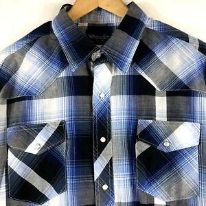 Wrangler-Mens-Pearl-Snap-Blue-Plaid-Short-Sleeve-Shirt-Size-XXL-Cotton-Blend