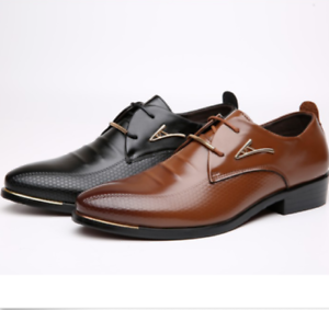 2019 Men/'s England Leather Shoes Dress Formal Business Pointed Casual Lace Shoes