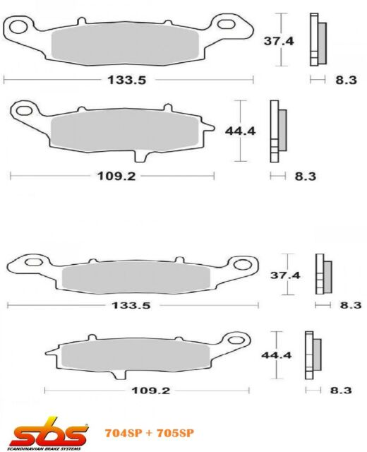KAWASAKI VN Vulcan Classic 1600 2003-2008  4 FRONT BRAKE PADS SBS 704SP+705SP