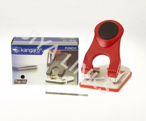 KANGARO HEAVY DUTY ALL METAL CONSTRUCTION 2 HOLE PUNCH PERFORATOR 60 SHEETS RED