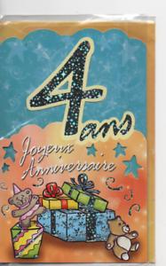 Carte Voeux Joyeux Anniversaire 4 Ans Ours Cadeaux 18 5 X 11 5 Cm Ebay