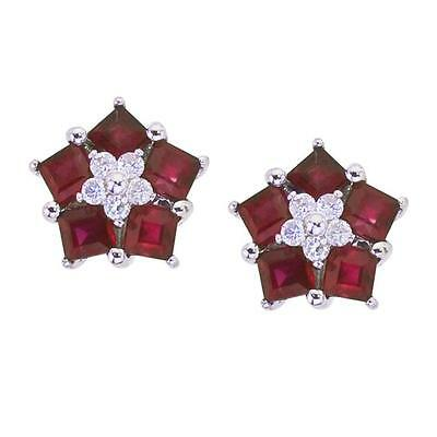 20161004. Certified 14k White Gold Ruby and Diamond Floral Star Earrings #... Lot 20161004