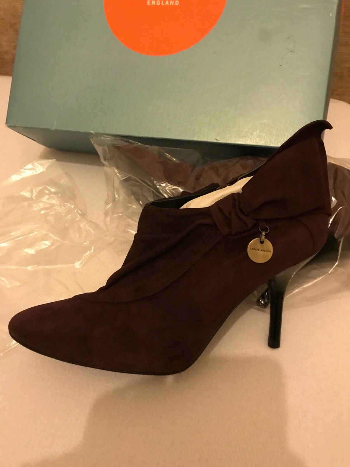 BNIB Karen Millen Plum Burgundy Suede Booties shoes Heels 37.5 (4.5)