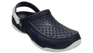 Crocs Swiftwater Deck Clog Navy//White Mens Roomy Fit Comfort Clogs