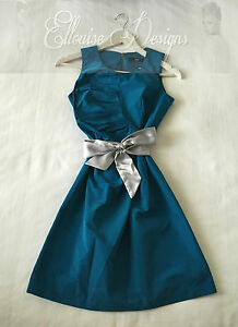 AS-NEW-CUE-Teal-Blue-Fitted-Pencil-Pleated-Exposed-Zip-Cocktail-Dress-Size-6