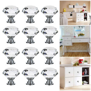 12x-Clear-Crystal-Glass-Diamond-Door-Knobs-Cupboard-Drawer-Cabinet-Handles-UK