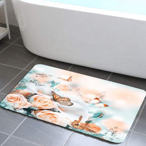 Floral Bathroom Rug White Calla Lilies Butterfly Non Slip Bath Mat for Bathroom