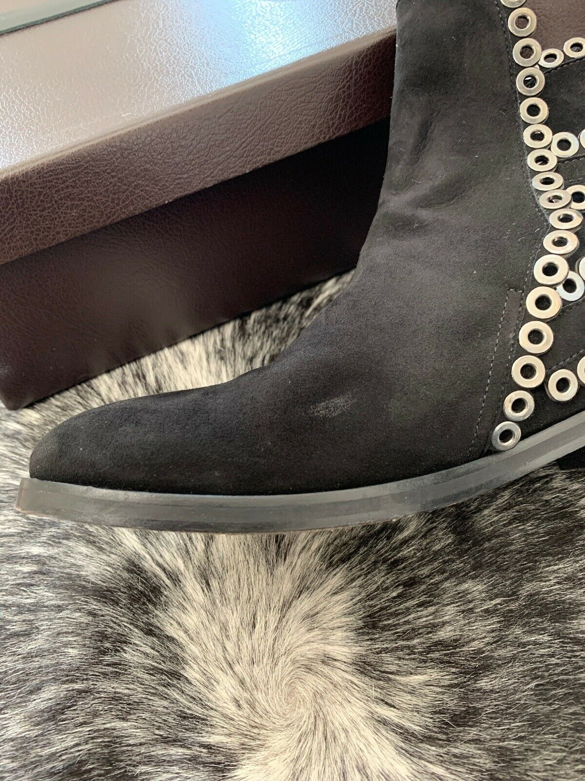 AZZEDINE ALAIA Black Suede Grommet Ankle Boots Si… - image 12