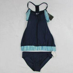 Nike-Two-Piece-Layered-Tankini-Swimsuit-Blue-SU27567-100-Msrp-Womens-Size-Small