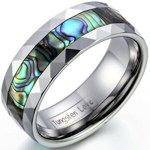 8mm-Tungsten-Carbide-Ring-w-Abalone-Shell-Inlaid-Beveled-Edge-Mens-Womens-Band