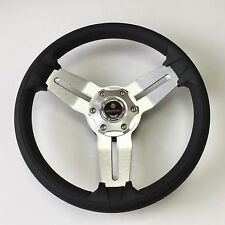 New OEM Gussi Boat Steering Wheel M15 Brushed Alum Spoke Black Urethane Rim