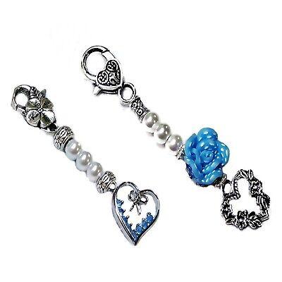 bride key finder keeper wedding, clip on handbag Something Blue charms gift