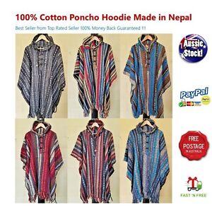 100-Cotton-Poncho-Baja-Unisex-Boho-Festival-Hippy-Outdoor-gear-Surf-Hunting1
