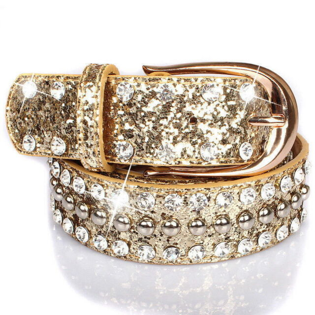 Women Wide Shiny Belt Wide Rhinestone Crystal Shiny Bling Waistband Luxury  F